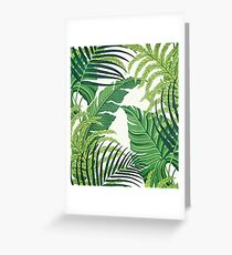 Green tropical leaves Greeting Card