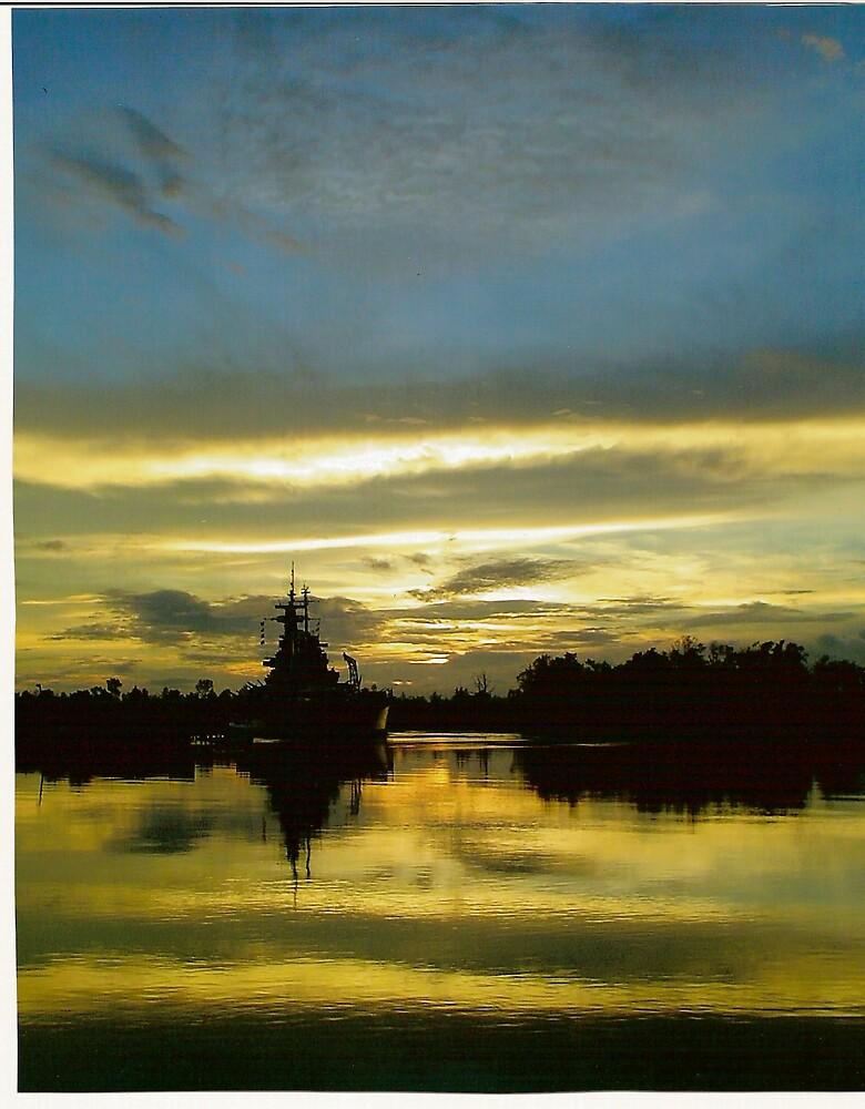 Battleship NC at Sunset by lharker