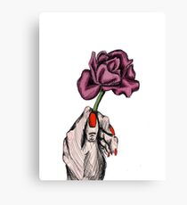 Hand with Flower Canvas Print