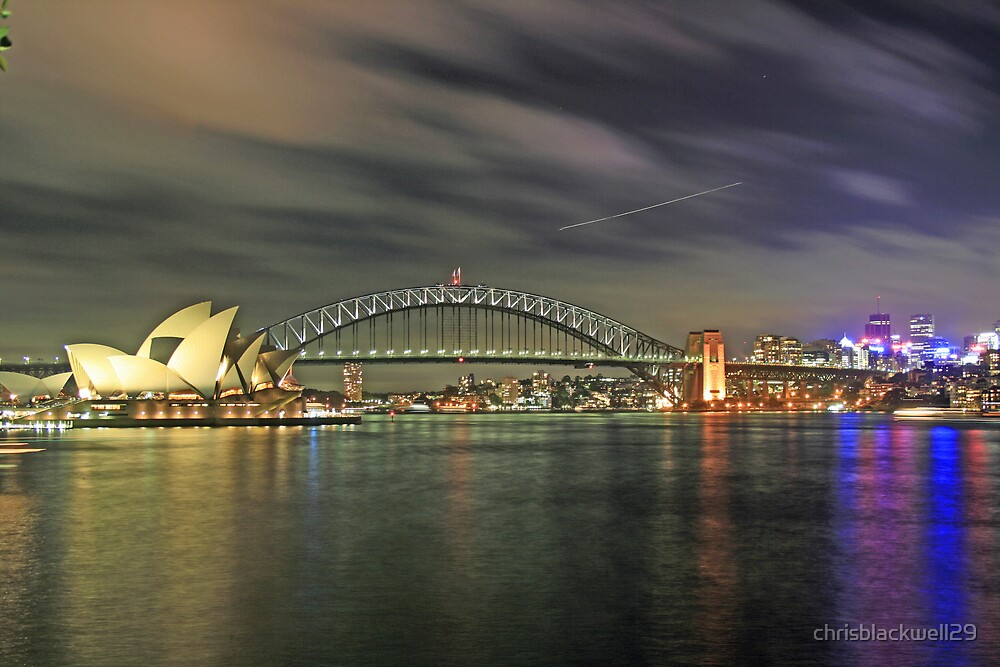 harbour bridge and opera house 2 at night  by chrisblackwell29