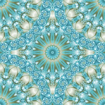 Turquoise and Gold Mandala Tile by kellydietrich