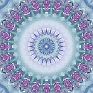 Violet Flowers Mandala in Purple, Blue, Green and White by Kelly Dietrich
