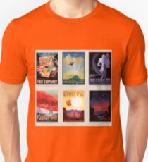 NASA JPL Space Tourism collage: Exoplanet Travel Bureau Unisex T-Shirt