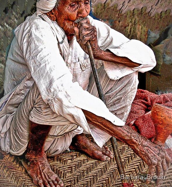 Old Man with Hookah by Barbara  Brown