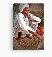 Old Man with Hookah Canvas Print