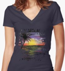 Sunset Sea Women's Fitted V-Neck T-Shirt