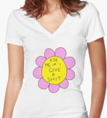 ask me if i give a sh*t flower Women's Fitted V-Neck T-Shirt