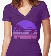 Camiseta entallada de cuello en V Synthwave - Miami FM-77