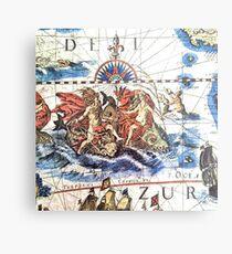 Neptune Ancient Maritime Map Metal Print