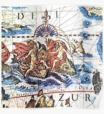 Neptune Ancient Maritime Map Poster