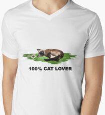 100% Cat Lover  Men's V-Neck T-Shirt