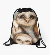 three wise owls Drawstring Bag