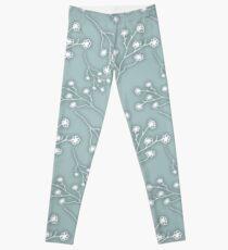 Baby's Breath Flower Pattern - Grey Green Leggings