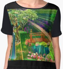 Pensive and Etheral Woman in Garden Watercolor Print Women's Chiffon Top
