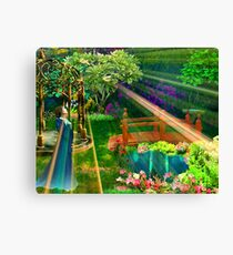 Pensive and Etheral Woman in Garden Watercolor Print Canvas Print