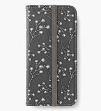 Baby's Breath Flower Pattern - Black iPhone Wallet/Case/Skin
