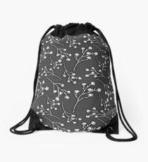 Baby's Breath Flower Pattern - Black Drawstring Bag