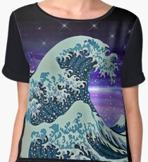 Japanese Wave & Stars Art Print Women's Chiffon Top