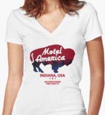 Motel America Women's Fitted V-Neck T-Shirt