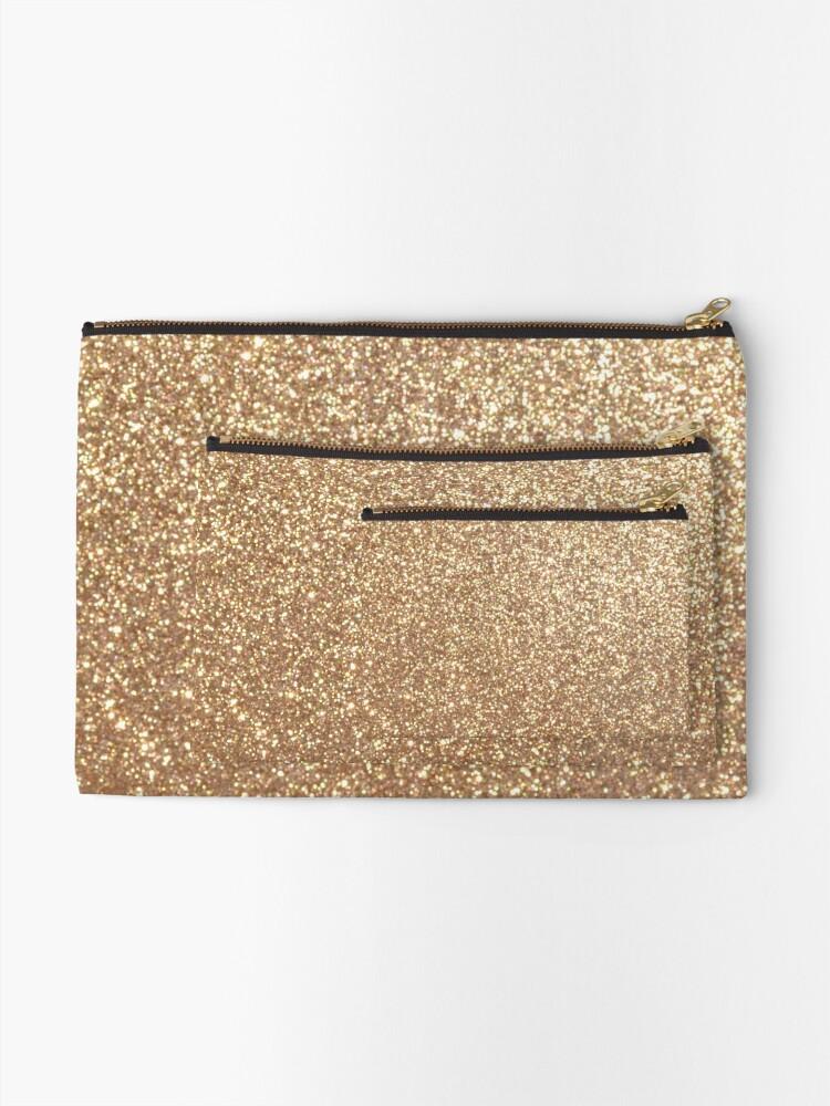 Alternate view of Copper Rose Gold Metallic Glitter Zipper Pouch