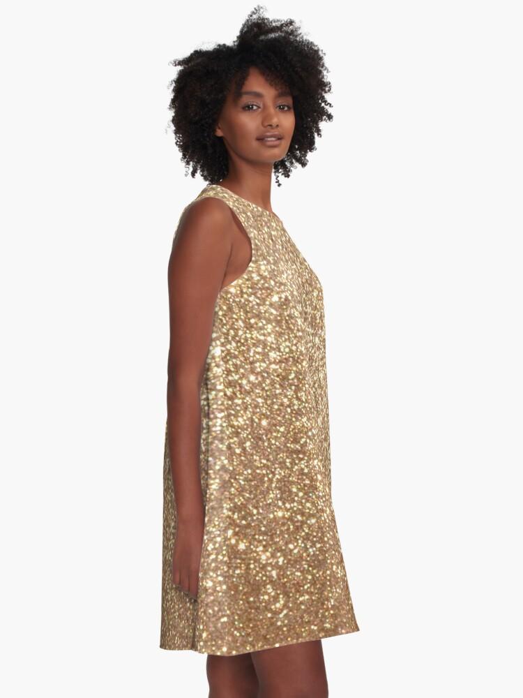 Alternate view of Copper Rose Gold Metallic Glitter A-Line Dress