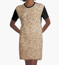 Copper Rose Gold Metallic Glitter Graphic T-Shirt Dress