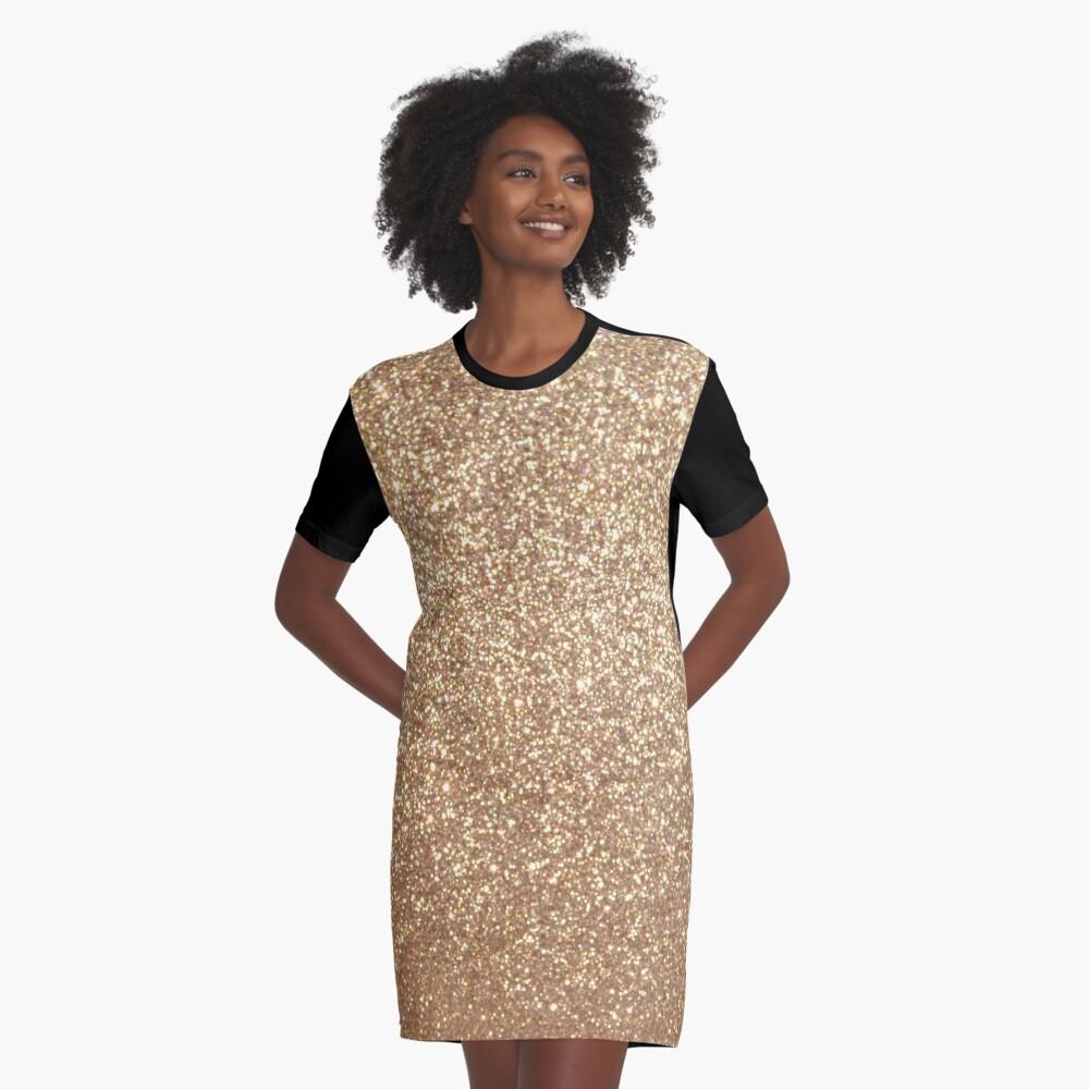 Copper Rose Gold Metallic Glitter Graphic T-Shirt Dress