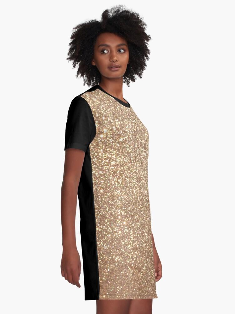 Alternate view of Copper Rose Gold Metallic Glitter Graphic T-Shirt Dress