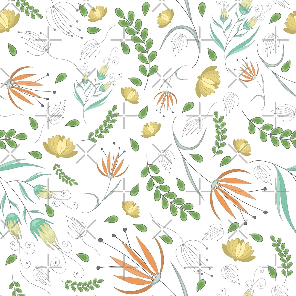 Floral white pattern by JuliaBadeeva