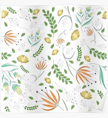 Floral white pattern Poster