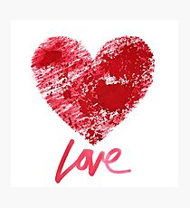 Love. Red stenciled heart Photographic Print