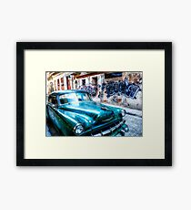 Old green American car on the streets of Havana Cuba Framed Print