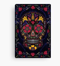 Day of the Dead Sugar Skull Dark Canvas Print