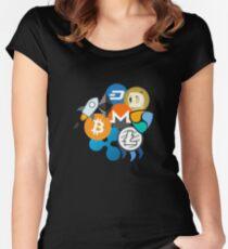 Bitcoin, Ripple, Ethereum, Litecoin, NEM, Dash, Monero, Stellar Lumens, Steem, Cryptocurrency,  Women's Fitted Scoop T-Shirt
