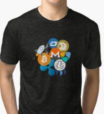 Bitcoin, Ripple, Ethereum, Litecoin, NEM, Dash, Monero, Stellar Lumens, Steem, Cryptocurrency,  Tri-blend T-Shirt