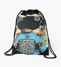 Asia Blue Drawstring Bag