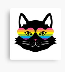 Black Cat with Rainbow Heart Sunglasses Canvas Print