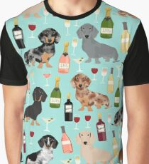 Dachshund wine pattern cute gifts for dog lovers dachsie doxie patterns Graphic T-Shirt