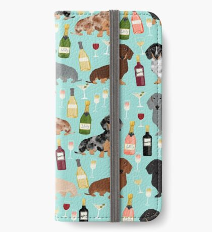 Dachshund wine pattern cute gifts for dog lovers dachsie doxie patterns iPhone Wallet