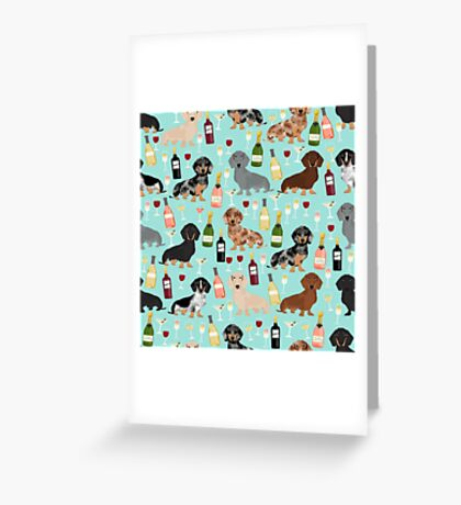 Dachshund wine pattern cute gifts for dog lovers dachsie doxie patterns Greeting Card