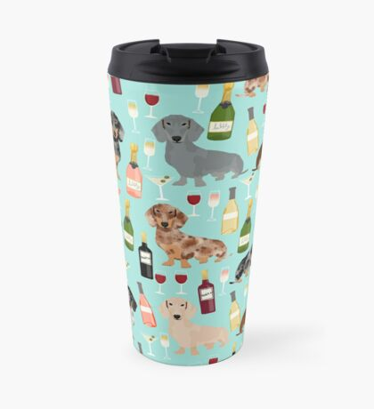 Dachshund wine pattern cute gifts for dog lovers dachsie doxie patterns Travel Mug