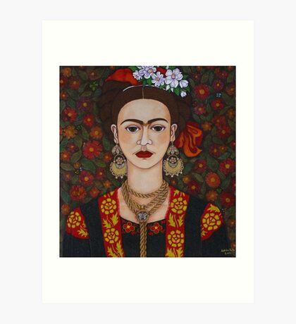 Frida with butterflies Art Print