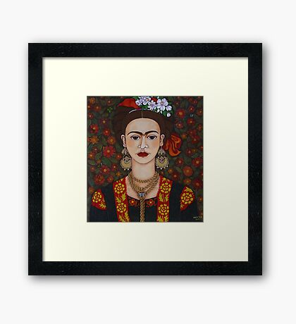 Frida Kahlo with butterflies Framed Print
