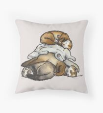 Sleeping pile of pet ferrets Throw Pillow