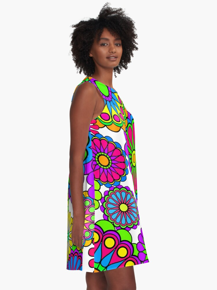 Alternate view of Happy Hippy Flowers A-Line Dress