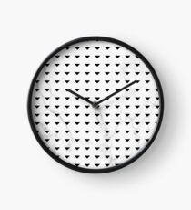 White Marble Black Abstract Triangle Pattern Clock