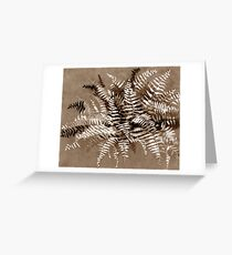 Fern, floral art, brown scale, monochrome Greeting Card