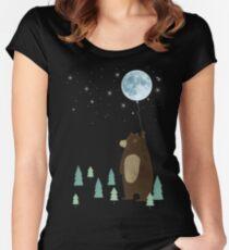 Camiseta entallada de cuello redondo el globo de la luna