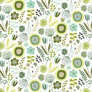 Meadow - Springtime, green and white - pretty floral pattern by Cecca Designs by Cecca-Designs