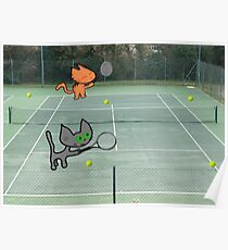 Tennis Cats Poster